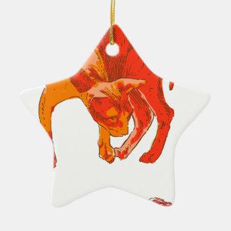 Ornement Étoile En Céramique Chat de Koi
