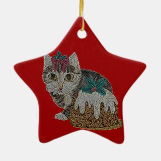 Ornement Étoile En Céramique chat tigré gris de chaton mignon léchant Noël de