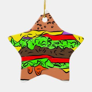 Ornement Étoile En Céramique Cheeseburger