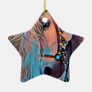 Ornement Étoile En Céramique Cheval abstrait