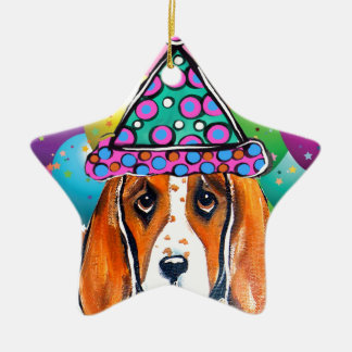 Ornement Étoile En Céramique Chien de partie de chien de basset-hound