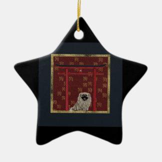 Ornement Étoile En Céramique Chien de Pekingese, voûte asiatique rouge, signe