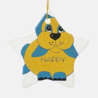 Ornement Étoile En Céramique Chiot heureux bleu et jaune