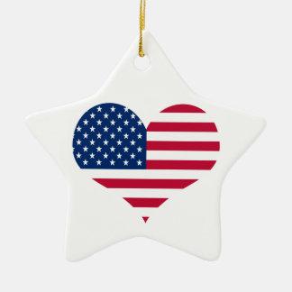 Ornement Étoile En Céramique Coeur américain des Etats-Unis de drapeau de