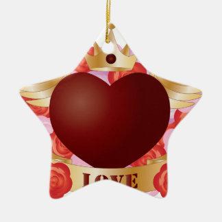Ornement Étoile En Céramique Coeur de vol avec la bannière et les roses