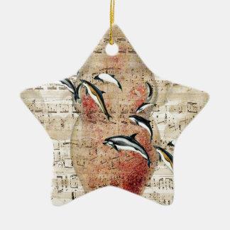 Ornement Étoile En Céramique Collage de dauphins de poulpe
