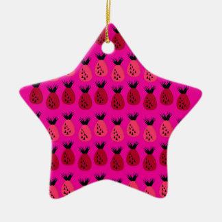 Ornement Étoile En Céramique Conception rose d'ananas