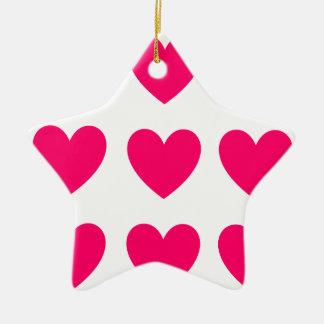 Ornement Étoile En Céramique Conception rose de coeur