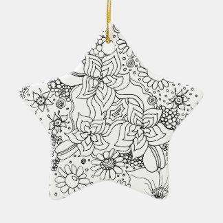 Ornement Étoile En Céramique Conglomération des fleurs