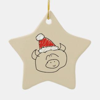 Ornement Étoile En Céramique Cool drôle de rouge d'étoile d'astrologie de Noël