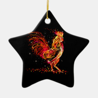 Ornement Étoile En Céramique Coq du feu. Conception animale flamboyante de cool