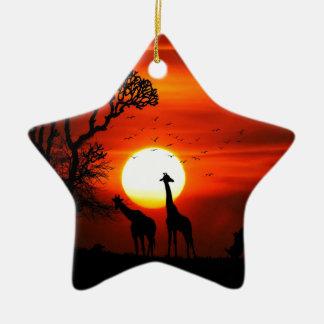 Ornement Étoile En Céramique Coucher du soleil orange en silhouette de girafe
