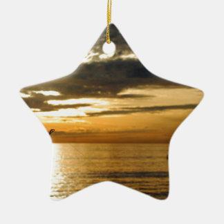 Ornement Étoile En Céramique coucher du soleil Pacifique d'or