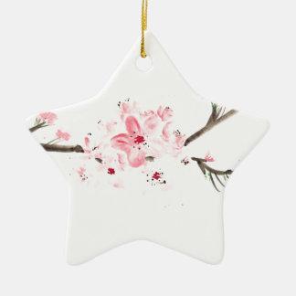 Ornement Étoile En Céramique Couleur pour aquarelle de fleurs de cerisier