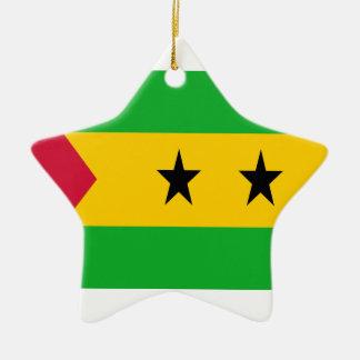 Ornement Étoile En Céramique Coût bas ! Drapeau de São Tomé e Príncipe