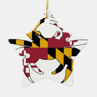 Ornement Étoile En Céramique Crabe de drapeau du Maryland