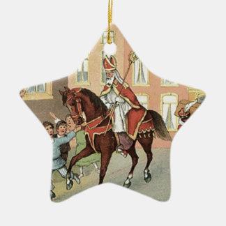 Ornement Étoile En Céramique Cru néerlandais Saint-Nicolas de St Nick de