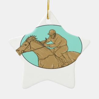 Ornement Étoile En Céramique Dessin ovale de course de chevaux de jockey