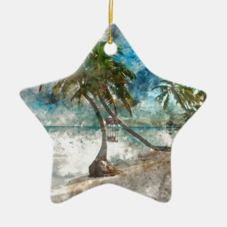 Ornement Étoile En Céramique Destination de voyage de Caye Belize d'ambre gris