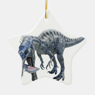 Ornement Étoile En Céramique Dinosaure de Suchomimus mangeant un requin