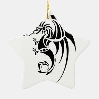 Ornement Étoile En Céramique Dragissous V1 - dragon noir