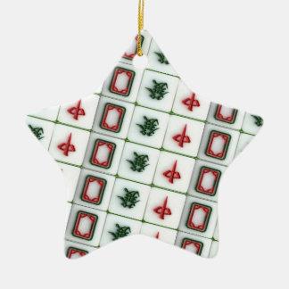Ornement Étoile En Céramique Dragons de Mahjong