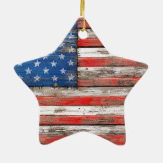 Ornement Étoile En Céramique Drapeau americana