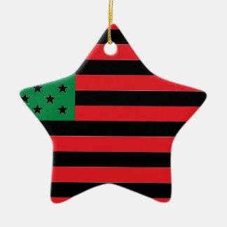 Ornement Étoile En Céramique Drapeau d'Afro-américain - noir et vert rouges