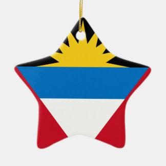 Ornement Étoile En Céramique Drapeau d'Antigua-et-Barbuda