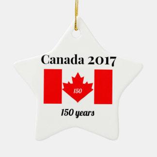 Ornement Étoile En Céramique Drapeau de coeur du Canada 150 en 2017