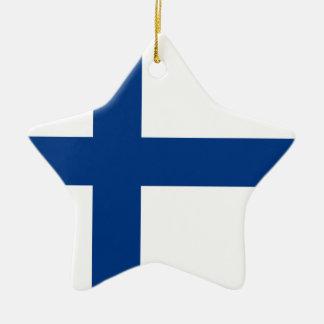 Ornement Étoile En Céramique Drapeau de la Finlande
