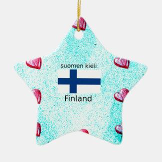 Ornement Étoile En Céramique Drapeau de la Finlande et conception finlandaise