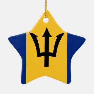Ornement Étoile En Céramique Drapeau des Barbade