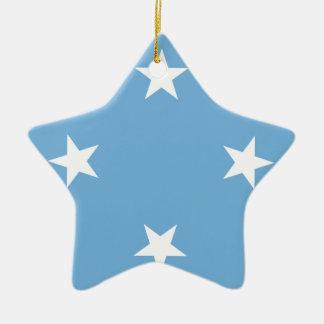 Ornement Étoile En Céramique Drapeau des Etats fédérés de Micronésie