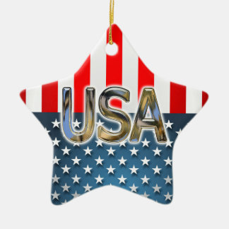 Ornement Étoile En Céramique Drapeau des Etats-Unis