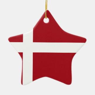 Ornement Étoile En Céramique Drapeau du Danemark