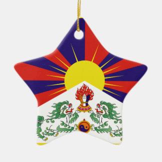Ornement Étoile En Céramique Drapeau libre du Thibet - ་ de བཙན de ་ de རང de ་
