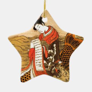 Ornement Étoile En Céramique Équitation de Koi