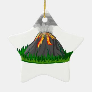Ornement Étoile En Céramique éruption et feu de volcan