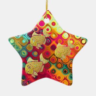 Ornement Étoile En Céramique Étoile d'ornement de la vie de poissons d'or