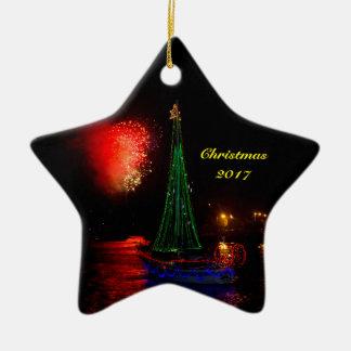 Ornement Étoile En Céramique Étoile en céramique du voilier 2017 et du Noël de