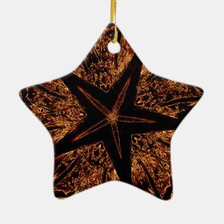 Ornement Étoile En Céramique Étoile kaléïdoscopique foncée élégante de Brown de