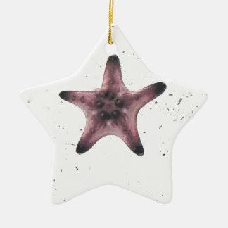 Ornement Étoile En Céramique Étoiles de mer sur le motif blanc de minimalisme