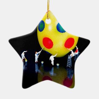 Ornement Étoile En Céramique Figurines miniatures peignant l'oeuf de pâques