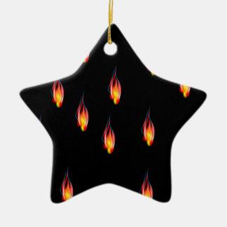 Ornement Étoile En Céramique Flammes du feu