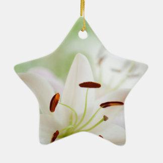 Ornement Étoile En Céramique Fleur de lis blanc entièrement ouverte
