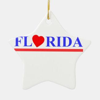 Ornement Étoile En Céramique Florida coeur rouge