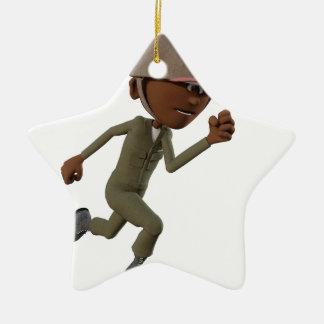 Ornement Étoile En Céramique Fonctionnement de soldat d'Afro-américain de bande