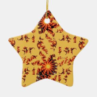 Ornement Étoile En Céramique Fractale d'or de scintillement