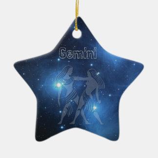 Ornement Étoile En Céramique Gémeaux